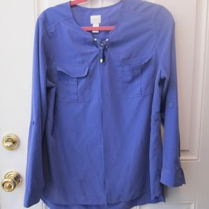 CHICO'S Size1 (6-8) BLOUSE~78%Modal /22% Poly~BLUE